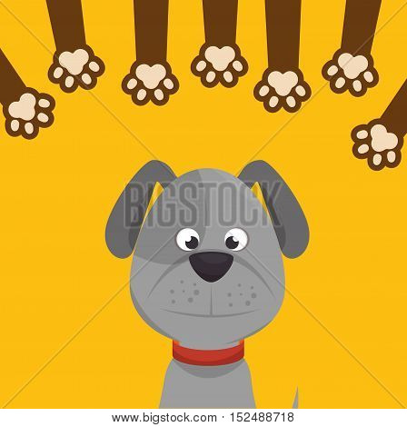 doggy with paw print icon design vector illustration eps 10