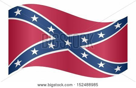 National flag of the Confederate States of America. Known as Confederate Battle Rebel Southern Cross Dixie flag. Patriotic symbol banner. Historical flag of the CSA waving white background vector