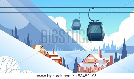 Cable Car Transportation Rope Way Over Winter Mountain Hill Village Background Flat Vector Illustration