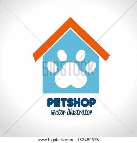 pet shop concept house paw icon vector ilustration