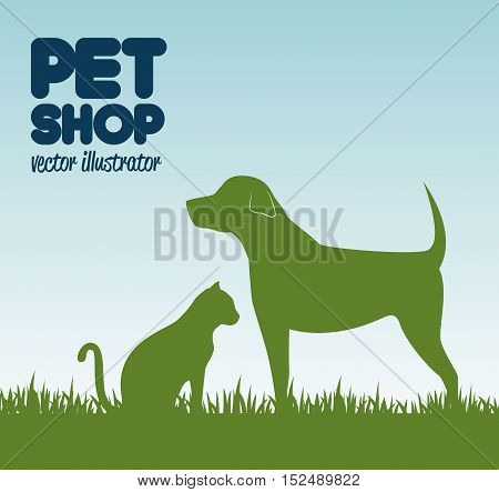 gree silhouette dog cat and grass, pet shop icon design vector illustration eps 10