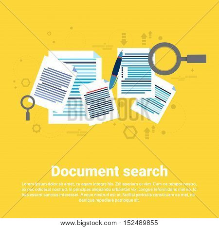 Paper Document Search Magnifying Glass Paperwork Business Web Banner Flat Vector Illustration