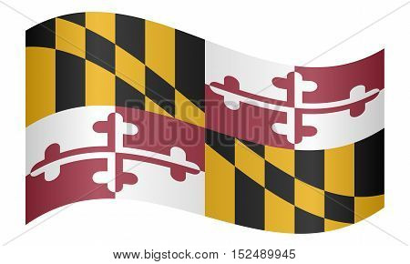 Maryland official flag symbol. American patriotic element. USA banner. United States of America background. Flag of the US state of Maryland waving on white background vector