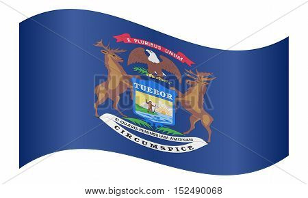 Michiganian official flag symbol. American patriotic element. USA banner. United States of America background. Flag of the US state of Michigan waving on white background vector