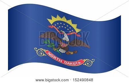 North Dakotan official flag symbol. American patriotic element. USA banner. United States of America background. Flag of the US state of North Dakota waving on white background vector