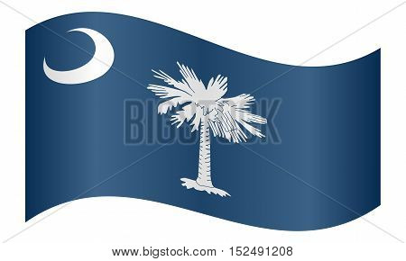 South Carolinian official flag symbol. American patriotic element. USA banner. United States of America background. Flag of the US state of South Carolina waving on white background vector