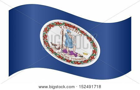 Virginian official flag symbol. American patriotic element. USA banner. United States of America background. Flag of the US state of Virginia waving on white background vector