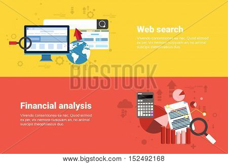 Financial Analysis, Web Search Digital Content Information Technology Business Web Banner Flat Vector Illustration