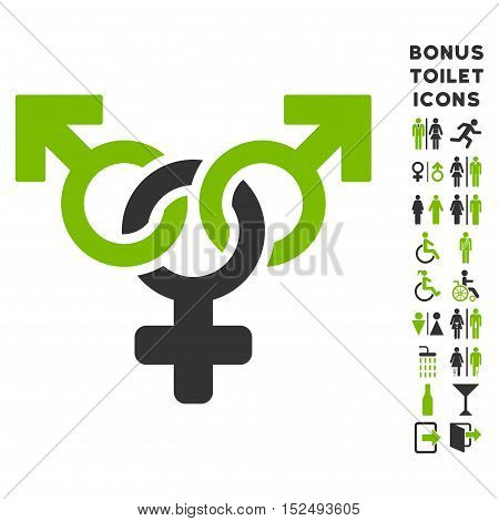 Polyandry icon and bonus male and lady restroom symbols. Vector illustration style is flat iconic bicolor symbols, eco green and gray colors, white background.