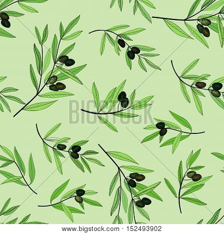 Olive tree branch seamless pattern. Hand drawn olive branch background. Old fashion olive decorative texture for label, pack.