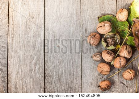 walnut on wooden background with leaves and nutshell crached