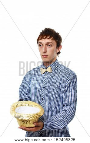young man holding hat and begging for money. sad actor begging for alms. the concept of poverty. isolated on white background