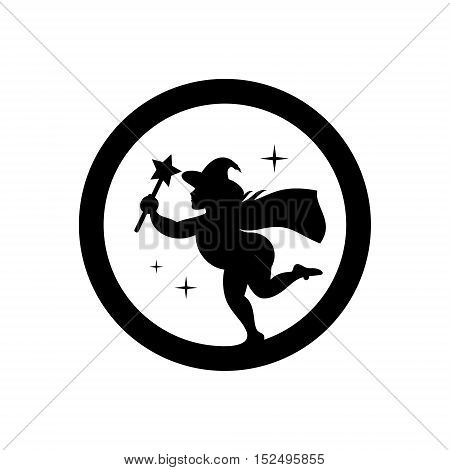 Wizard with magic wand. Isolated on a white Background