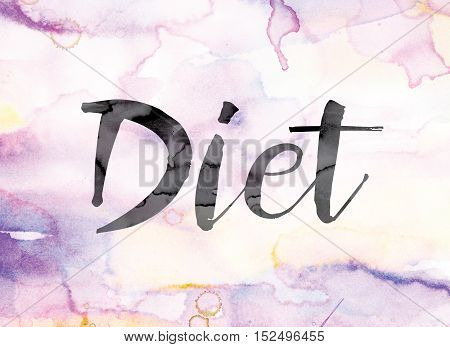 Diet Colorful Watercolor And Ink Word Art