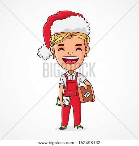 Little funny elf in a red cap red overalls with a box in his hands. Boy - the provider in the Christmas clothes. Deliveryman. Vector illustration on white background. Great holiday gift card.