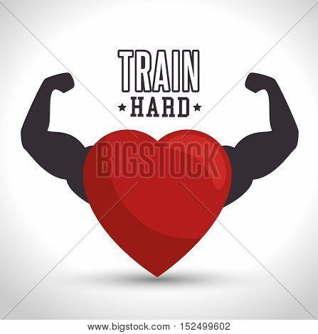 train hard heart arm icon gym vector illustration eps 10