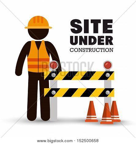 worker warning site under construction vector illustration eps 10