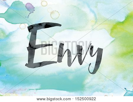 Envy Colorful Watercolor And Ink Word Art