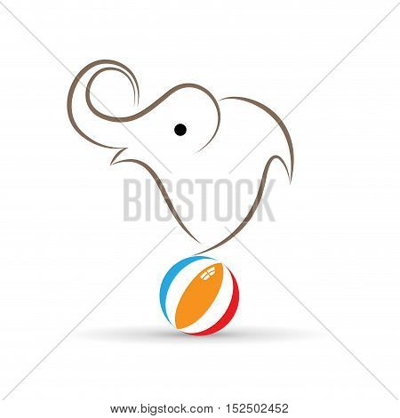 Vector sign elephant juggler, illustration isolated in white