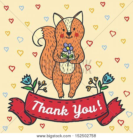 Thanksgiving card with fox. Vector illustrated card.
