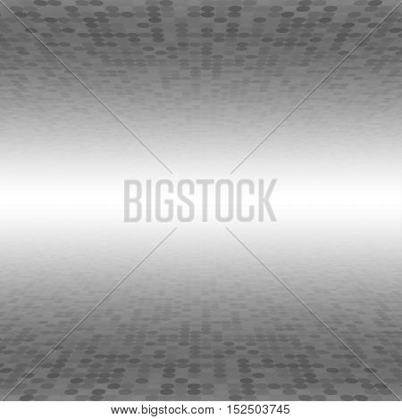 Mosaic Tile Circle Vector Background. Perspective Halftone Fone. Grey Background. Vector illustration for Web Design.
