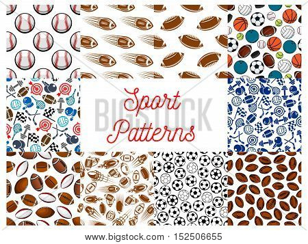 Sporting items seamless patterns set with balls for soccer or football, basketball, volleyball, rugby, baseball, bowling and tennis, hockey puck, dumbbell, racing flag, target and ninepins