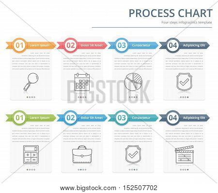 Process chart, flow chart template infographics, design elements with numbers and text, business infographics, workflow, steps, options, vector eps10 illustration