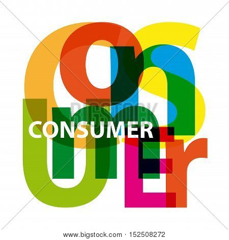 Vector consumer. Isolated confused broken colorful text
