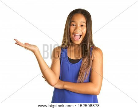 Cute Filipino Girl on a White background  wearing a tank top and a backpack. She has a funny excited expression and is holding her hand out with her palm up