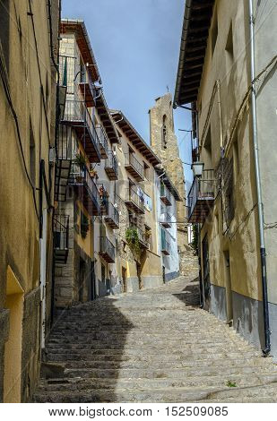 steep and stepped streets of Maestrazgo Morella Castellon province of Valencia Spain