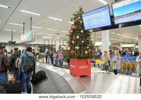 AMSTERDAM, NETHERLANDS - CIRCA NOVEMBER, 2015: baggage claim area at Schiphol Airport. Amsterdam Airport Schiphol is the main international airport of the Netherlands.