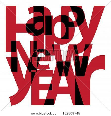 Text Happy New Year. Isolated confused broken colorful text