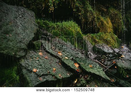 Falling water drops on mossy stones waterfall closeup