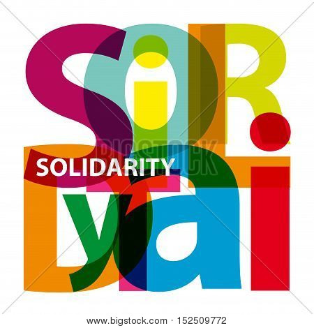 Vector solidarity. Isolated confused broken colorful text