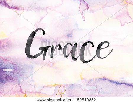 Grace Colorful Watercolor And Ink Word Art