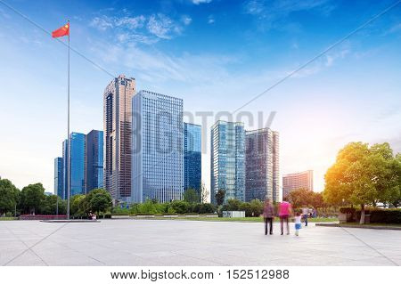Hangzhou Zhejiang China leisure and high-rise buildings of the public.