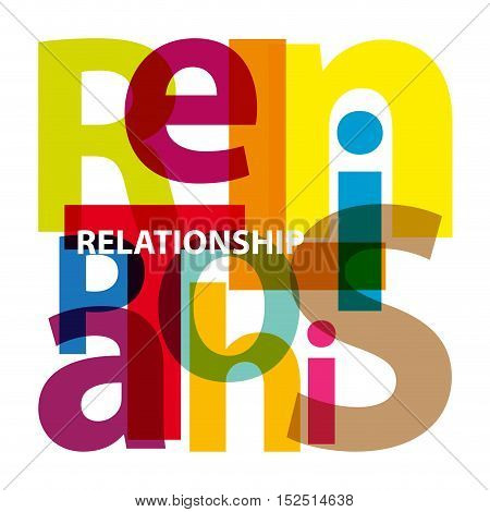 Vector relationship. Isolated confused broken colorful text
