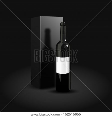 Bottle of wine packaging design. A luxury presentation of red wine. Vector illustration. Dark bottle of wine on black background
