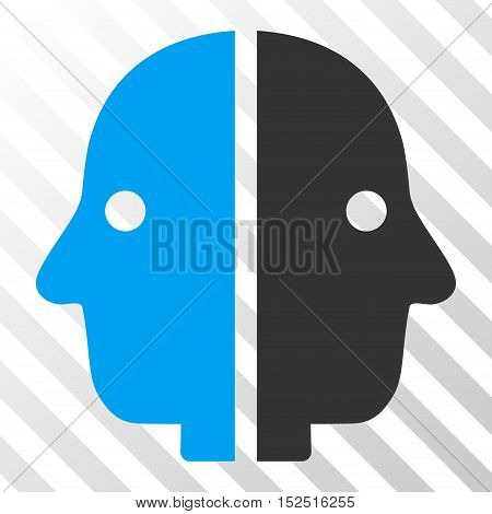 Blue And Gray Dual Face toolbar pictogram. Vector pictogram style is a flat bicolor symbol on diagonal hatch transparent background.