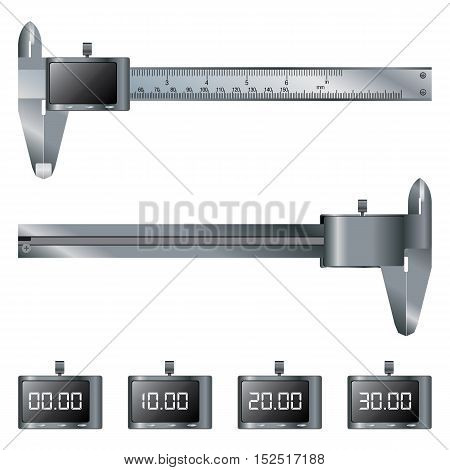 Vernier caliper digital design set of Front and Back view. Object tool.