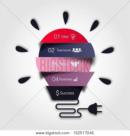 Vector light bulb infographic. Template for lamp diagram, graph, presentation, chart. Business startup idea concept with 3 options, parts, steps or processes. Successful brainstorming infographics.