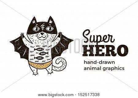 Superhero animal kids. Cartoon vector illustration. Little cat in superheroes costume. Hand drawn animal graphics. Super Hero icon