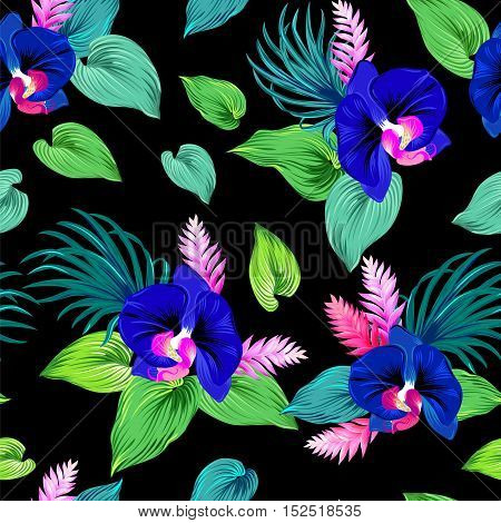 Seamless pattern with orchids. vector illustration. Dark cobalt blue orchids with exotic greenery. Pattern for fashion or interior.