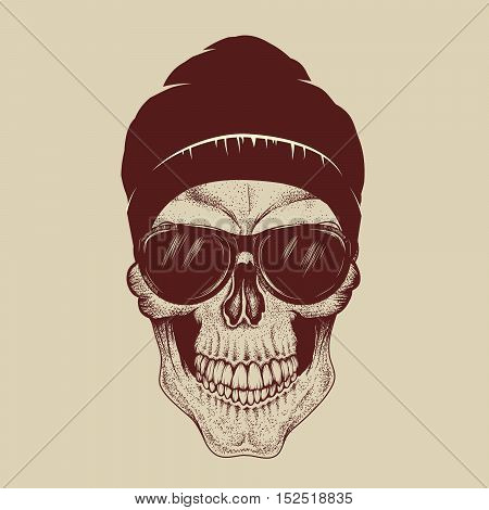 Skull with sunglasses and hat.Fashion style.Vector hand drawn illustration