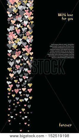 Dark vertical design with hearts confetti on black background. Romantic trendy heart frame. Valentine day design for love card valentine day greetings. Vector illustration stock vector.