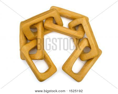 poster of Wooden handmade chain isolated on white background