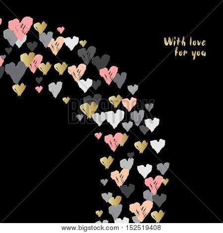 Black corner design with hearts confetti swirl on black background. Romantic trendy heart frame. Valentine day design for love card valentine day greetings. Vector illustration stock vector.