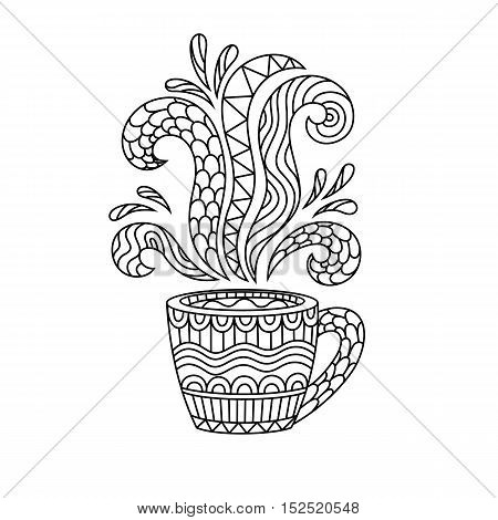 Coffee mug or tea Cup with abstract patterns in the style of zentangle doodle. Hand drawn illustration coloring book for adults. Vector illustration