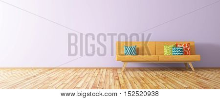 Modern Interior Of Living Room With Orange Sofa 3D Render