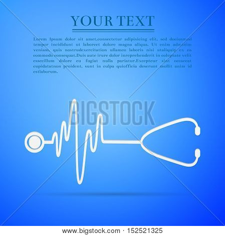 Stethoscope with a heart beat flat icon on blue background. Adobe illustrator